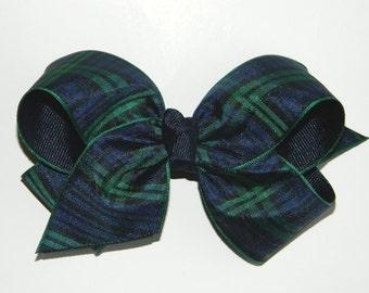 Black Watch Plaid Uniform Hair Bow - Large