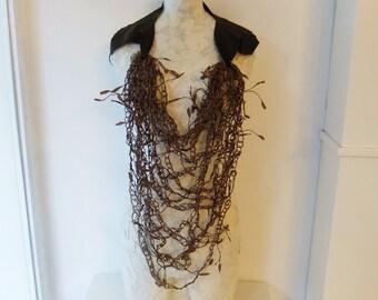 Copper Brown Silk & Paper Thread Crochet Necklace w/ Leather Strap