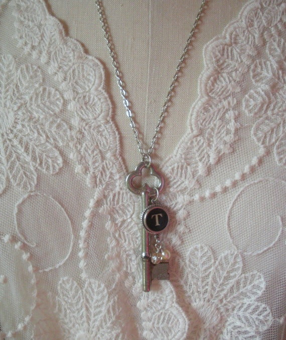 Vintage Skeleton Key Necklace personalized with your choice of Typewriter Key