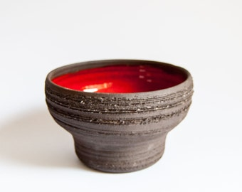 Red & Natural Clay Studio Pottery Stoneware Bowl, Norway