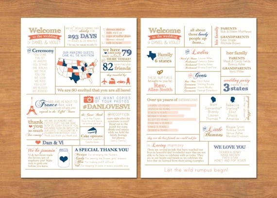 items similar to info graphic wedding program on etsy