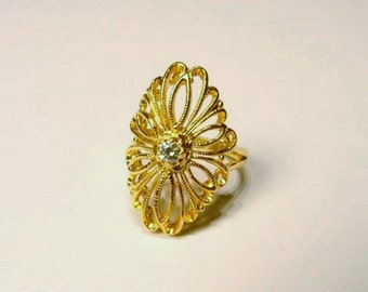 18K Gold over Sterling Silver Filigree  CZ Ring