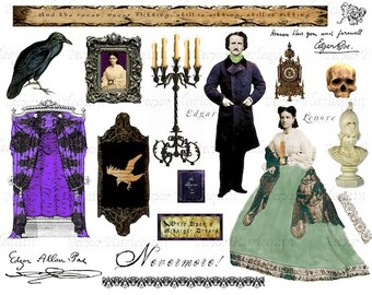 Gothic Poe's Raven PRINTABLE Collage sheet for ALTERED Art, Mixed-Media, Invites, Scrapbook, Decoupage