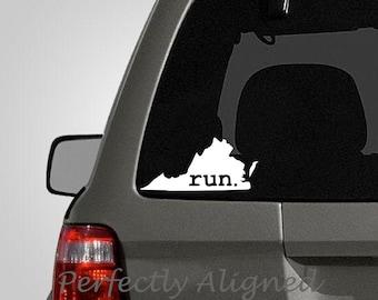 Virginia RUN Home State Vinyl Decal