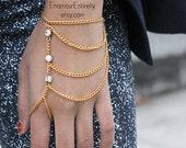 Gold (or Silver) White Gem Slave Bracelet