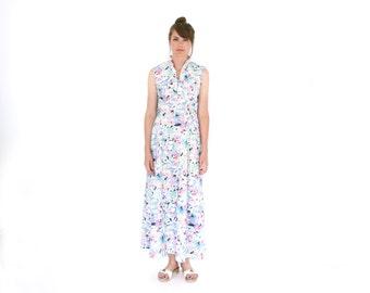 Maxi Dress Vintage 70s Pastel Floral Print Medium Large Long Dress Psychedelic Floral Flower Power