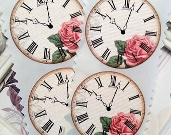 Shabby Clock Stickers (12) Envelope Seal-Vintage Style-Shabby Sticker-Clock Die Cut-Clock Face-Clock Label-Favor Sticker-Time Stickers