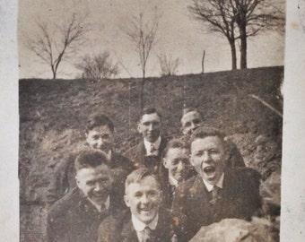 Original Antique Photograph Boys Will Be Boys