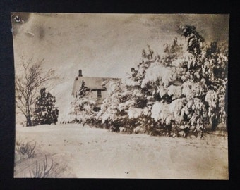 Original Antique Photograph Gorgeous Winter Home