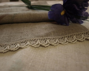"""SALE Linen Runner 27""""x57"""" Natural Grey Burlap With Lace"""