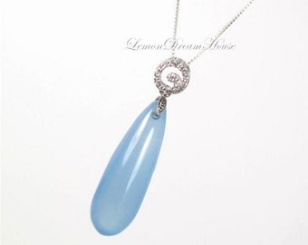 Gemstone Necklace, Blue Chalcedony Smooth Long Drop Briolette, Sterling Silver Swirl Charm with CZ, Sterling Silver Box Chain. Gift.  N190.