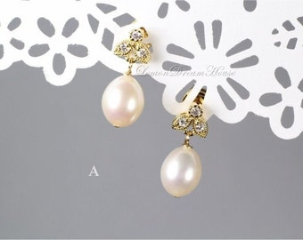 Freshwater Pearl Earrings, Gold-filled Headpins, White Rice Freshwater Pearls, Gold Leaf Post Earrings with CZ, Sterling Silver Posts. E218b