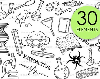 Mad Scientist Doodle Clip Art, Science Project Hand Drawn, Scientists Digital Clipart, School, Experiment, Microscope, Instant Download