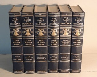 Six 6 Volumes March of Democracy Dark Blue with Gilt Books Prop Books Book Bundle Decorator Books