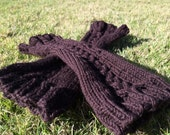 Outlander Knitted Arm Warmers / Chocolate Long Cuffs / Fingerless Gloves