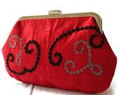 New Purse Clutch Bag Handbag Red Embroidered Black