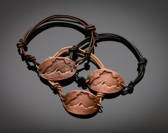 Copper Lake Superior Bracelet on adjustable Leather band