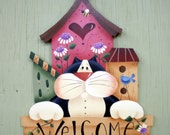 Home Living, Wall Decor, Wall Hangings, Welcome Sign, Cat, Birdhouses, Flowers, Tole Hand Painted Wood, Decorative Painting, Gift Ideas, Art