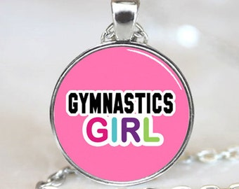 Gymnatics Girl On Pink Background Glass Tile Pendant (PD0443)