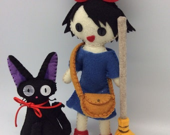 Kiki's Delivery Service and Jiji felt doll soft sculpture, ghibli characters, geeky gift, anime lover, little witch, black cat