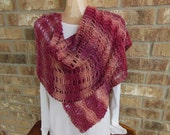"Pink Rose Shawl / Handmade Knit Shawl Stole Extra Long Shoulder Wrap Scarf Oversize in ""Rosebush"" Varigated Pink"