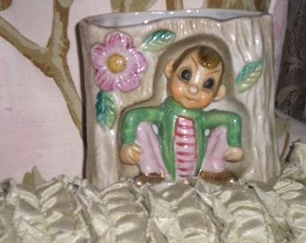 RARE,,,,ADoRaBle Vintage Elf Planter, Japan, Whimsical, Baby's Room, Pen Holder, Collectible Planter, Elf/Pixie Planter