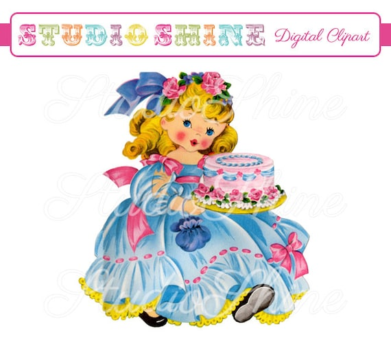 Vintage Digital Clipart Birthday Cake Girl Cute Little Girl Clip