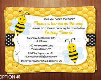 Busy Honey Bumble Bee What Will It BEE Theme Baby Shower Party Invitation