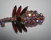REDUCED 20%  D&E aka Juliana Red and Red Aurora Borealis Flower Brooch   Item No: 16670