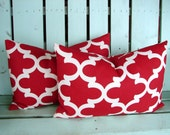 """Set of 2 14"""" X 20""""  lumbar red and natural fynn print-valentine pillow- decorative pillow cover-gifts under 40-throw pillow"""