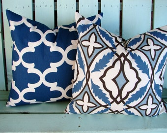 "Set of 2 18"" X 18"" blue capri natural brown Premier cadet fynn print- decorative pillow cover-accent pillow-gifts under 40-throw pillow"