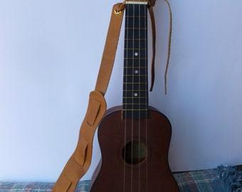 Ukuele Strap -Adjustable  Light Brown Leather