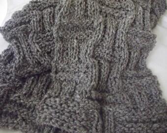 Hand Spun, Hand Knit,  Merino, Silk,  Scarf