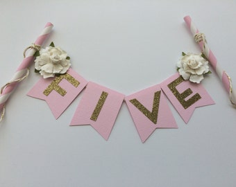 Pink and Gold Cake Bunting Banner with White Rose Embellishment.  1st Birthday Cake.  Smash Cake.  Cake Decor.  Shabby Chic Topper.