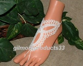 White Barefoot Sandels, Bridal Anklet, Foot Jewelry, Nude Shoes, Beach Wedding Barefoot Sandals, Pool, Sexy, Lace, Yoga, Hippie, Boho
