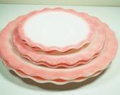 Hazel Atlas Crinoline Pink Ripple Luncheon Set - 6 Piece