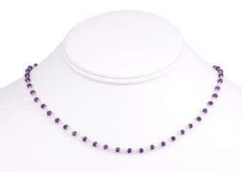 Purple Amethyst Necklace Faceted Spaced Link Beaded Sterling Silver Necklace 18 19 Inches