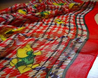 Silk Scarf FREE SHIP Nuno Supply Spring Red White Poo Bear Like Teddy Bear Design  Ten Dollar Summer Scarf