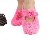 Pink Crochet slippers, Women, Handmade slippers, wraparound wrist slippers, Gift ideas for her, Pompoms house slippers