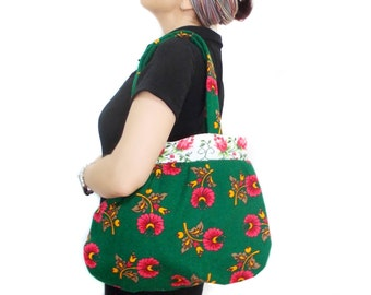 Floral Hobo Bag, Hobo Slouch Purse, Hobo Bag Purse, Floral Tote Bag, Hobo Tote Bag, Green Floral Tote, Shoulder Bag