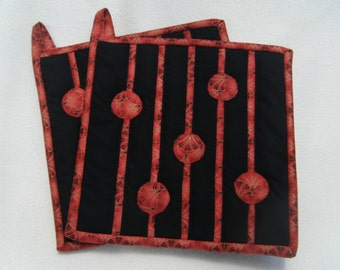Scattered Dots in Red and Black Quilted Potholders - Set of 2 -  HANDMADE BY ME