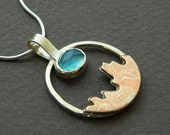Mixed metal jewelry- mixed metal pendant with mokume and blue stone