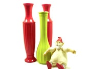 christmas, vases, neon, lime green, red, bright, upcycled vases, holiday table
