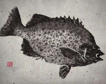 Spotted Knife Jaw / Beak Fish (IshiGakiDai) - GYOTAKU print - traditional Japanese fish art - by dowaito