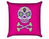 Sugar Skull and Cross Bones - Illustration Sofa Throw Pillow
