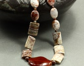 Agate and Carnelian Necklace, Strand Necklace, Rosetta Lace Agate, Chunky Necklace, Agate Necklace, Carnelian Necklace