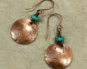 Turquoise and Hammered Copper Earrings, Turquoise Earrings, Southwestern Earrings, Rustic Earrings, Primitive Earrings