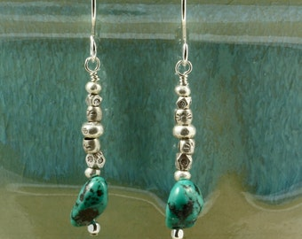 Turquoise and Silver Earrings, Dangle Earrings, Drop Earrings, Hill Tribe Silver, Southwestern
