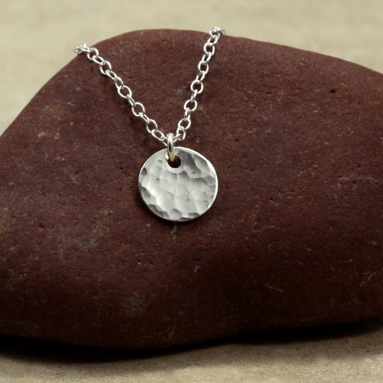 Disk Silvers: Small Hammered Silver Disc Necklace With Sterling Silver
