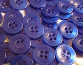24 Matching Iridescent Sapphire Blue Buttons, 4 holes, 3/4 inch (19mm) round sewing buttons